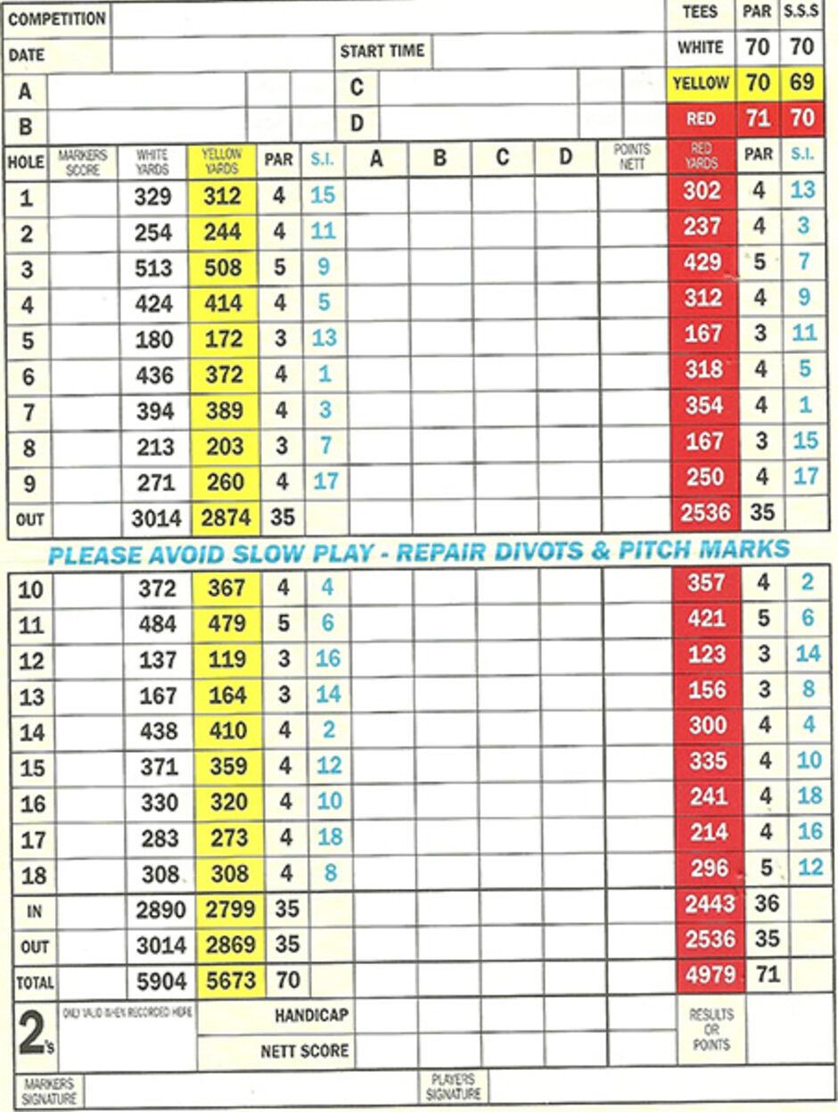 Longridge Golf Club Scorecard